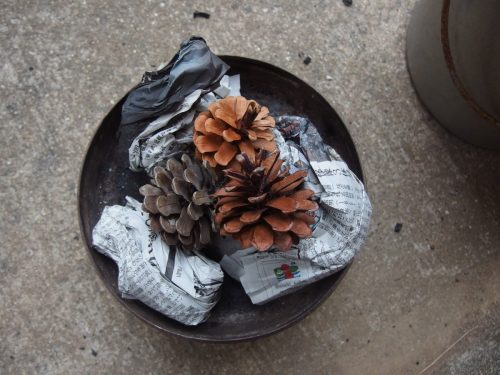 火おこし器のフタに松ぼっくり三つと半分に切った新聞三枚をのっけます。